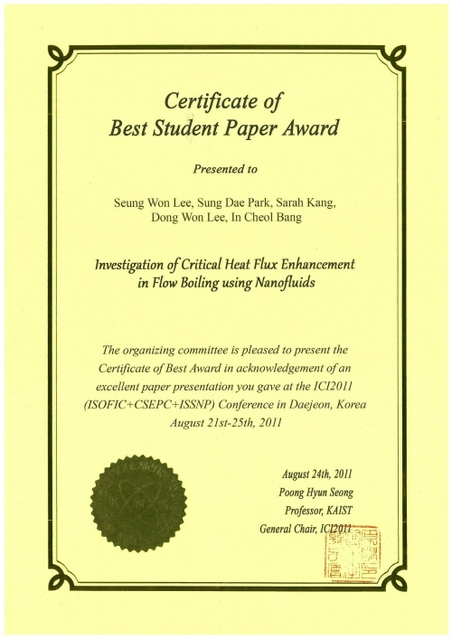 Certificate of Best Student Paper Award