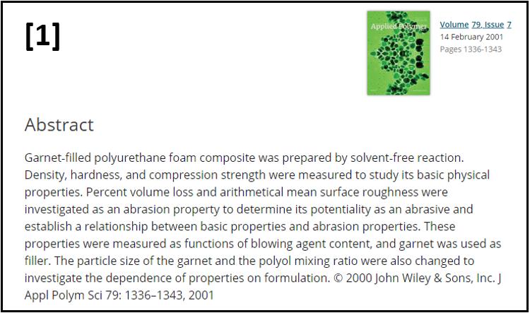 Physical Properties of Garnet-filled Polyurethane Foam Composite