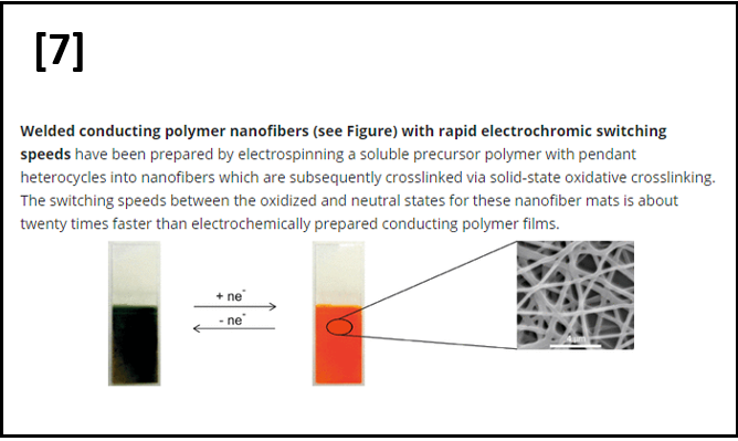 Welded Electrochromic Conductive Polymer Nanofibers by Electrostaic Spinning